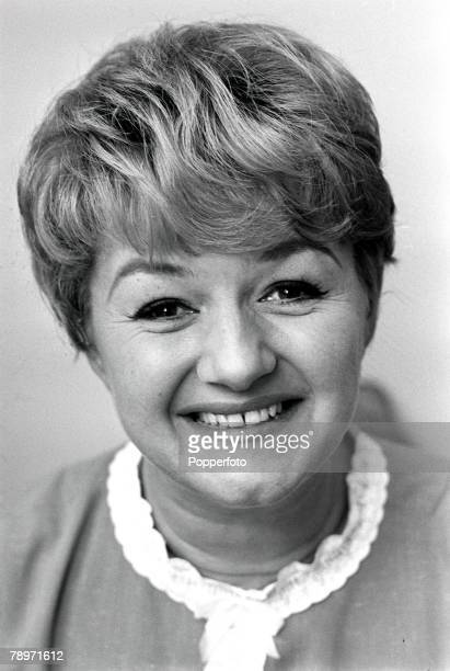 Portrait of actress Joan Sims star of the Carry On films smiling at the camera 1967
