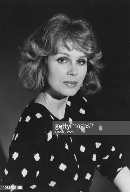 Portrait of actress Joanna Lumley wearing a polka dot sweater October 29th 1986