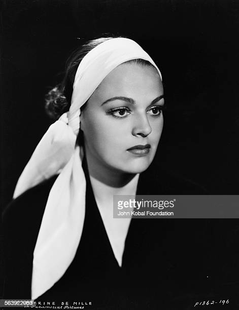 Portrait of actress Katherine DeMille wearing a head scarf daughter of famous filmmaker Cecil B DeMille for Paramount Pictures 1935