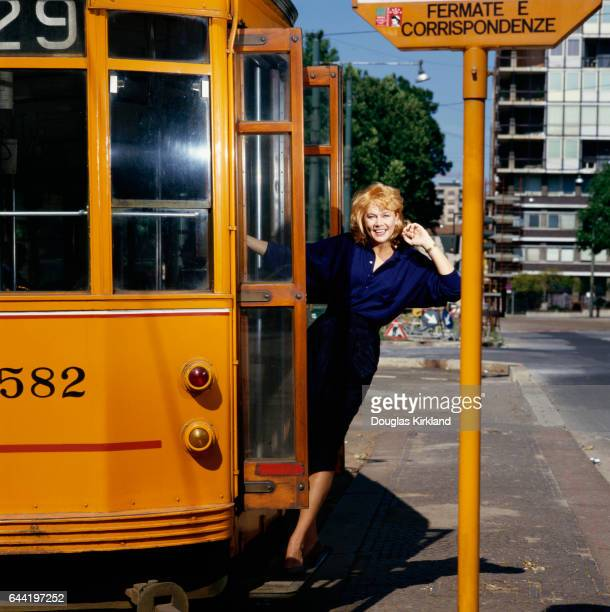 Portrait of actress Kathleen Turner on a bus while she was on location filming the 1988 film Julia and Julia.