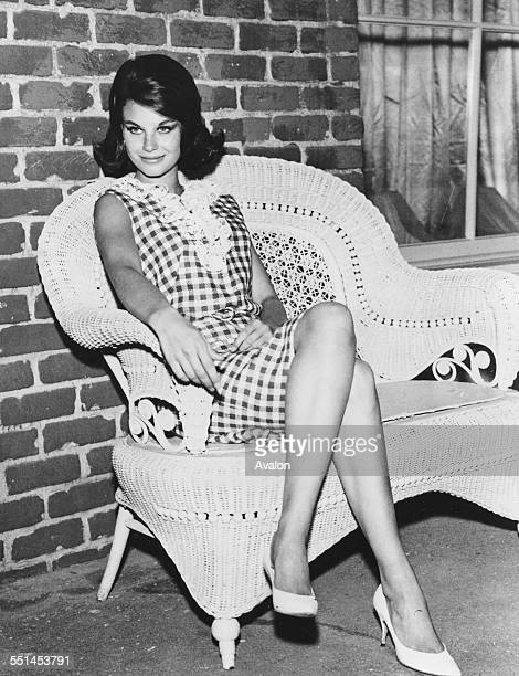 Portrait of actress Lana Wood star of the television show 'Peyton Place' sitting on a wicker chair October 20th 1966