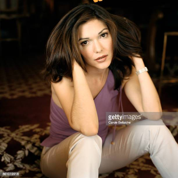 Portrait of actress Laura Harring during the Cannes Film Festival in 2001 with her hands in her hair Harring starred as Rita and Camilla in the...