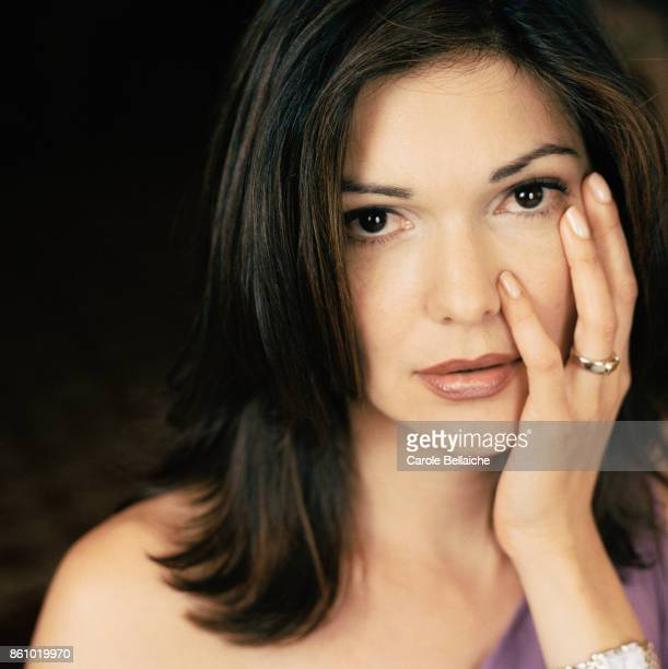 Portrait of actress Laura Harring with her hand on her face during the Cannes Film Festival in 2001 Harring starred as Rita and Camilla in the...