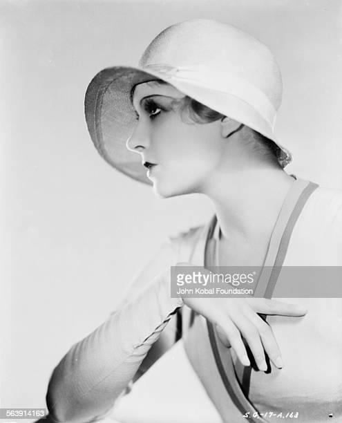 Portrait of actress Lili Damita wearing a cloche hat, for Samuel Goldwyn Films, 1929.