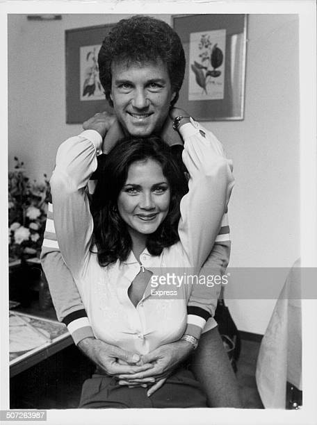 Portrait of actress Lynda Carter televisions 'Wonder Woman' with her husband and manager Ron Samuels London September 15th 1980