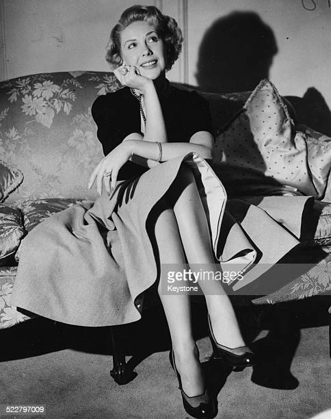 Portrait of actress Marie 'The Body' McDonald sitting in her room at the Dorchester Hotel during a visit to London September 14th 1951