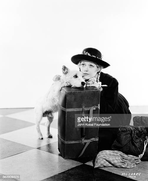 Portrait of actress Marion Davies leaning on her suitcase with a pet dog as she appears in the film 'Peg o' My Heart' for MGM Studios February 16th...