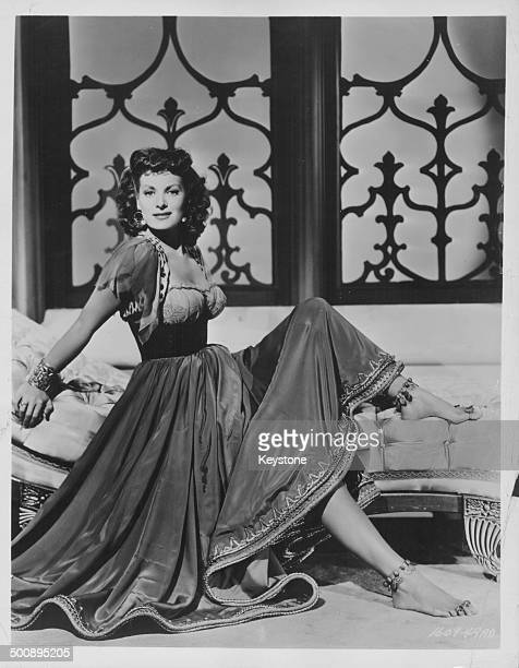 Portrait of actress Maureen O'Hara in costume as she appears in the movie 'Bagdad' 1949