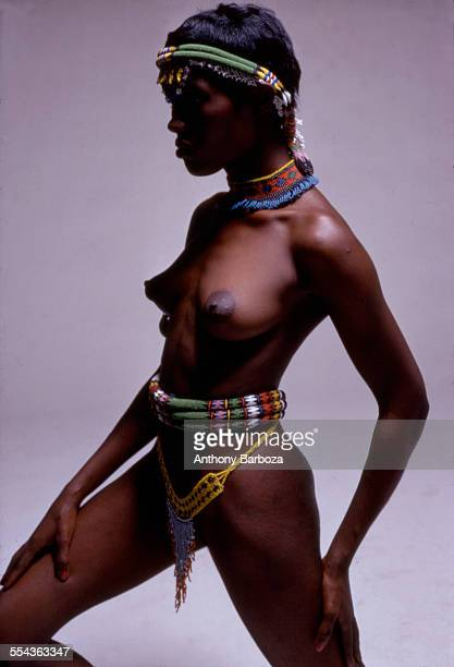 Portrait of actress musician and model Grace Jones wearing tribalinspired clothing 1970s