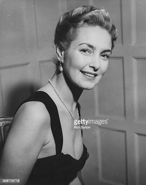 Portrait of actress Patricia Roc wearing an evening dress and pearl necklace at a press reception in the Savoy Hotel London February 24th 1955