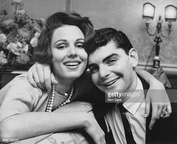 Portrait of actress Paula Prentiss and her husband actor Richard Benjamin at a reception for her film 'Bachelor in Paradise' at the Dorchester Hotel...