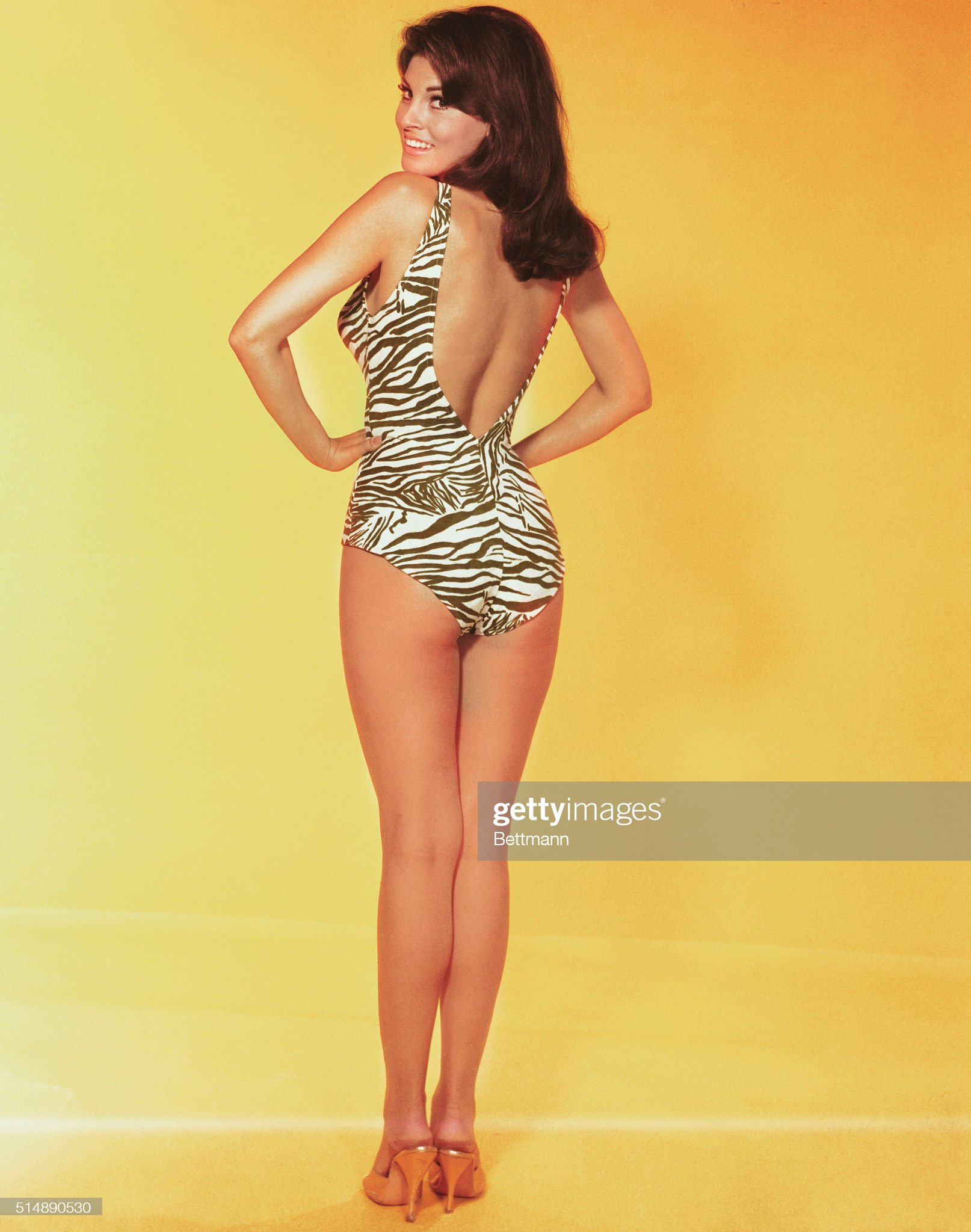 Actress Raquel Welch Modeling Bathing Suit : News Photo