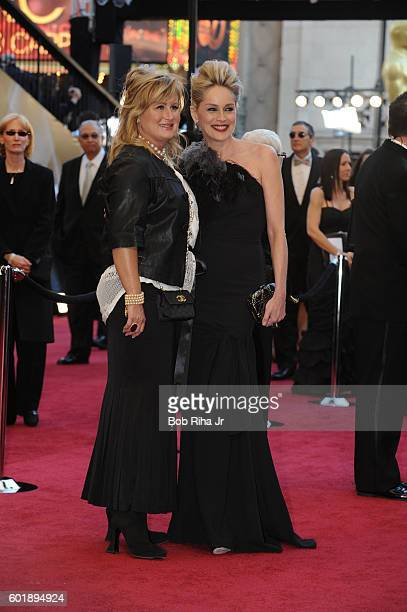 Portrait of actress Sharon Stone and her sister Kelly Stone as they pose together on the red carpet at the Kodak Theater during the 83rd Academy...