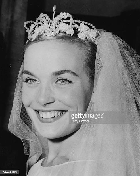 Portrait of actress Shirley Eaton on her wedding day where she married Colin LentonRowe at St Mary's Church Kenton August 5th 1957