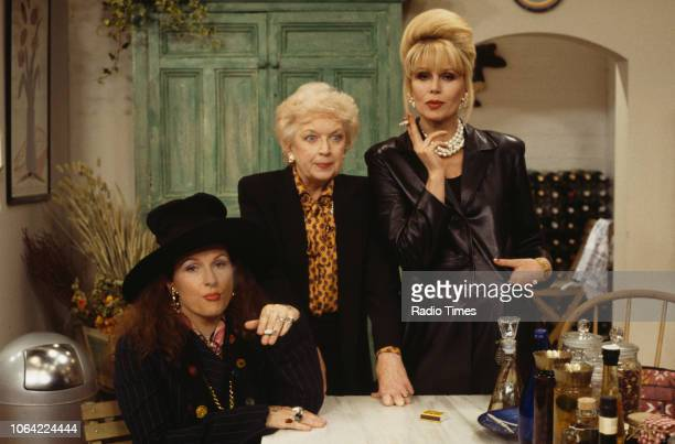 Portrait of actresses Jennifer Saunders, June Whitfield and Joanna Lumley on the set of the television sitcom 'Absolutely Fabulous', May 21st 1993.
