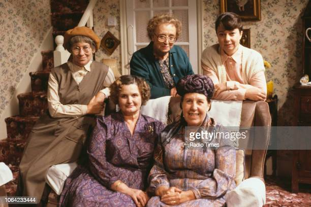 Portrait of actresses Juliette Kaplan Thora Hird and Sarah Thomas with Jane Freeman and Kathy Staff on the set of the BBC television sitcom 'Last of...
