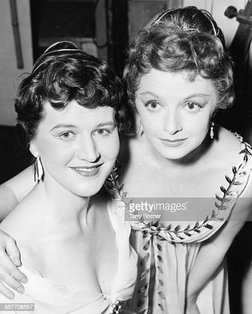 Portrait of actresses Patricia Routledge and Jane Wenham during rehearsals for the play 'The Comedy of Errors' at the Arts Theatre London March 27th...