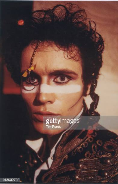 Portrait of Adam Ant on set during the filming of the music video for the Adam And The Ants single 'Antmusic' at The Sombrero nightclub Kensington...