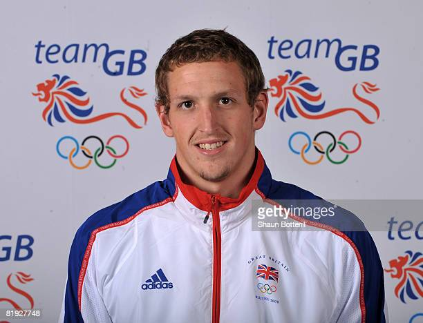 A portrait of Adam Brown a member of the Swimming team at the National Exhibition Centre on July 14 2008 in Birmingham England