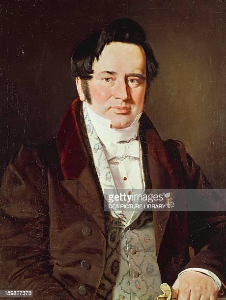 Portrait of Adam Gottlob Kristoff von Birg Oehlenschlager , Danish poet. Painted by Christian Albrecht Jensen . Hillerod, Frederiksborg Slot ,...