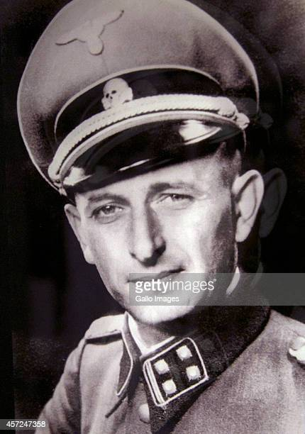 WARSAW POLAND OCTOBER 10 A portrait of Adolf Eichmann on the Core Exhibition of Polin on October 10 2014 at Polin Museum of History in Warsaw Poland...