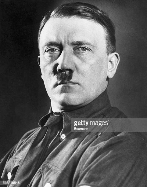 Portrait of Adolf Hitler head of of the Nazi party in Germany Head and shoulders full face Undated