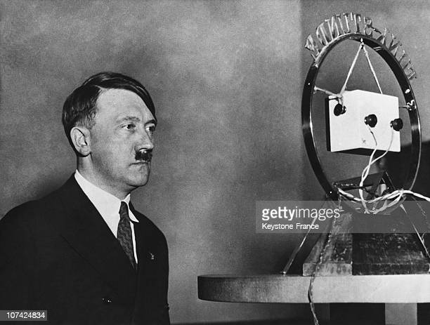 Portrait Of Adolph Hitler In Front Of A Microphone In Germany During Forties