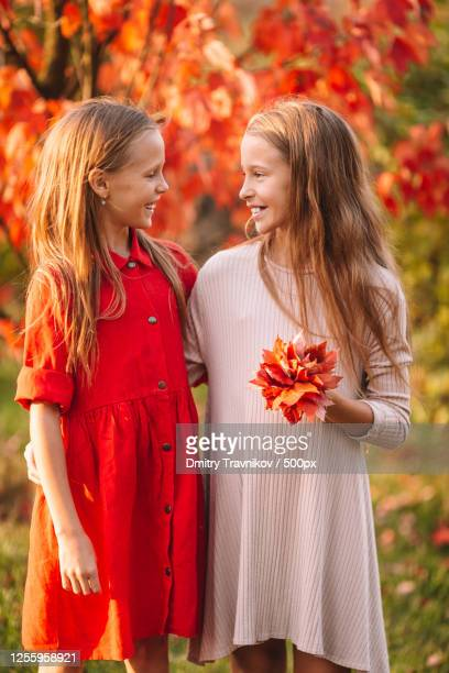 portrait of adorable little girls (10-11 years) with one holding red leaves bouquet looking at each other in autumn - 12 13 years stock pictures, royalty-free photos & images