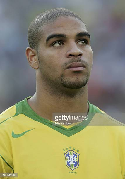 A portrait of Adriano of Brazil before the match between Mexico and Brazil in the FIFA Confederations Cup 2005 in the AWD Arena on June 19 2005 in...