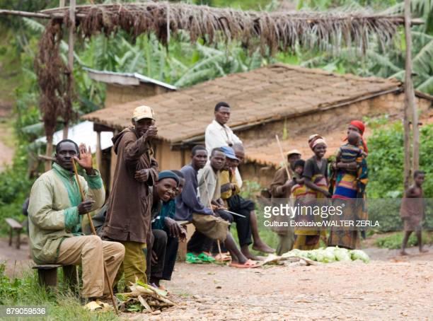 Portrait of adult and children village community, Masango, Cibitoke, Burundi, Africa