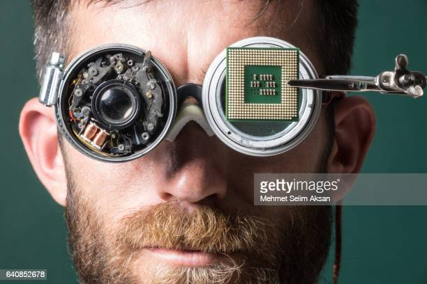 Portrait Of Adult Man Wearing Handmade Smartglasses