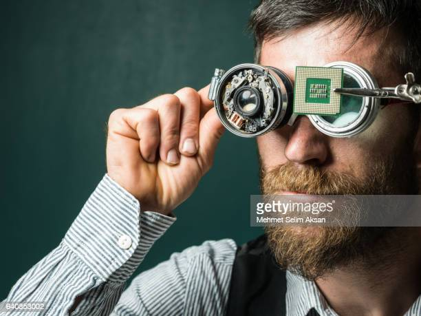 Portrait Of Adult Man Wearing Handmade Smartglasses