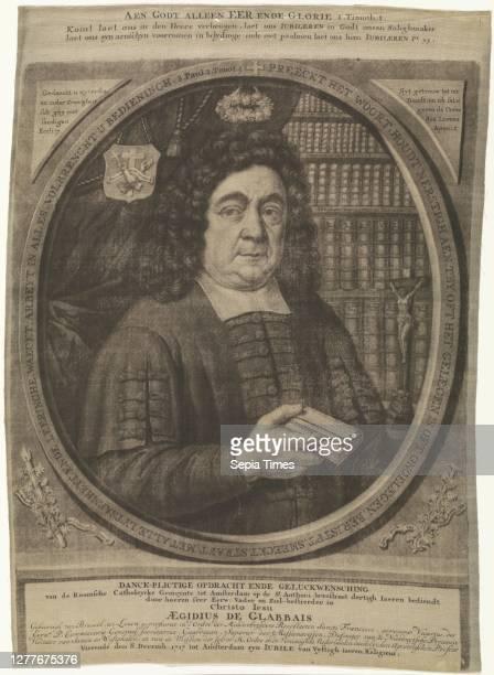 Portrait of Aegidius de Glabbais, Portrait of the spiritual Aegidius de Glabbais. He stands in front of a bookcase for which a crucifix. The print...