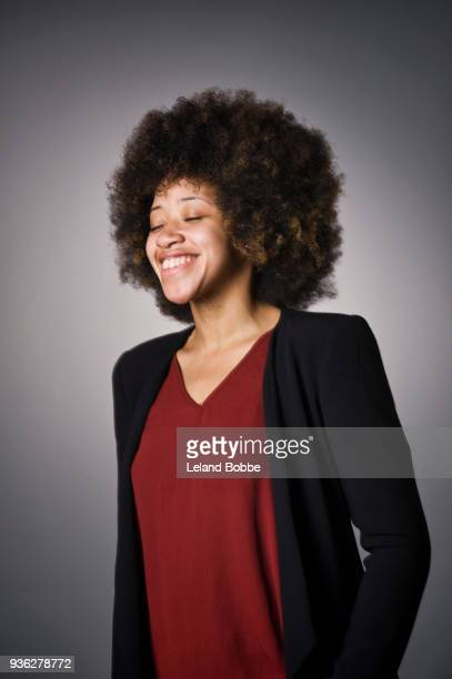 Portrait of African American Female With Afro