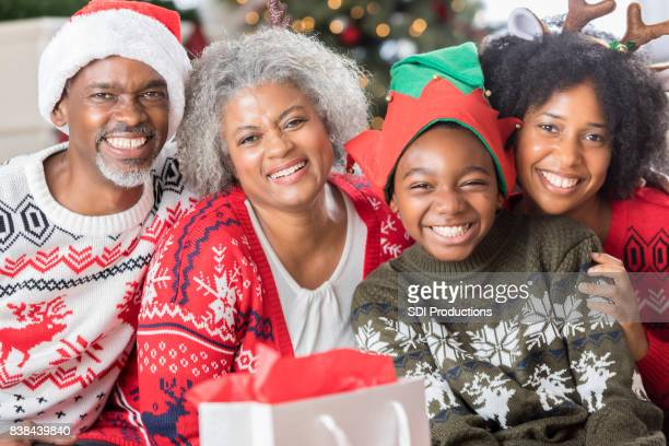 Portrait of African American multi-generational family on Christmas Day