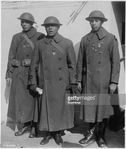 Portrait of African American soldiers of the 369th 15th New York who won the Croix de Guerre for Gallantry