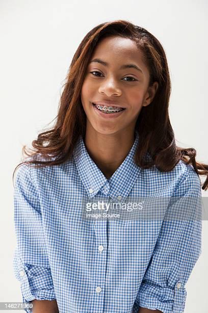 Portrait of African American teenage girl, studio shot