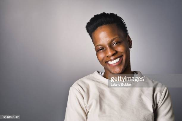 portrait of african american woman - androgynous stock pictures, royalty-free photos & images