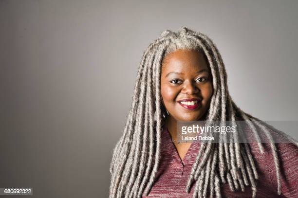 Portrait of African American Woman with Grey Dreads