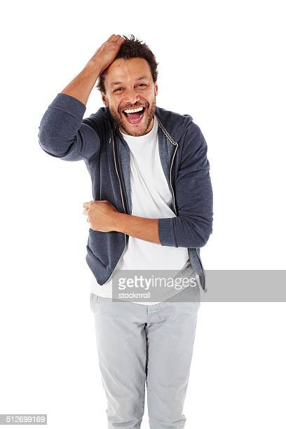 Portrait of african man laughing at camera