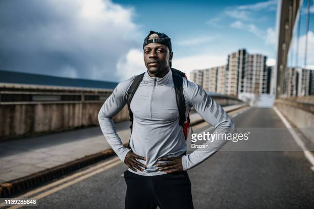 portrait of african muscular athlete. - south east england stock pictures, royalty-free photos & images