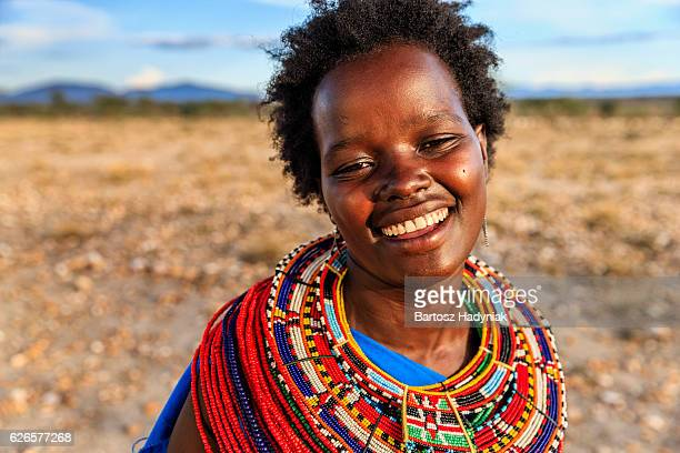 Portrait of African woman from Samburu tribe, Kenya, Africa