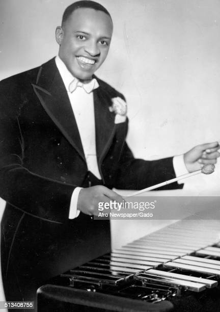 Portrait of AfricanAmerican jazz vibraphonist pianist percussionist bandleader and actor Lionel Hampton playing the vibraphone 1946
