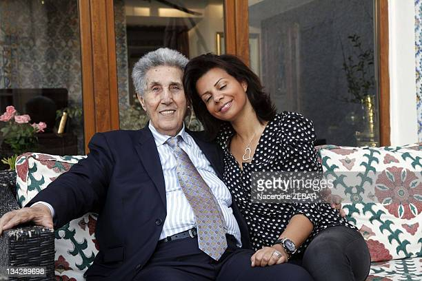 Portrait of Ahmed Ben Bella first president of Algeria and his stepdaughter Mahdia during a photocall held on June 9 2011 in Alger in Algeria