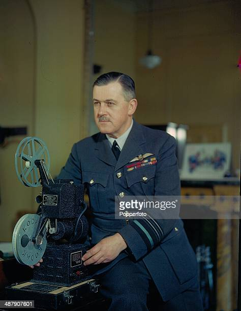 1943 Portrait of Air Vice Marshal Sir Trafford LeighMallory with his cineprojector Air Officer Commander in Chief of Fighter Command during World War...