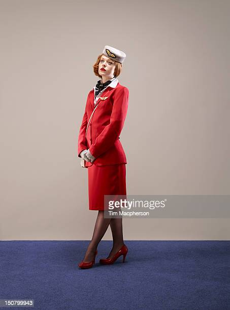 portrait of airline hostess - crew stock pictures, royalty-free photos & images