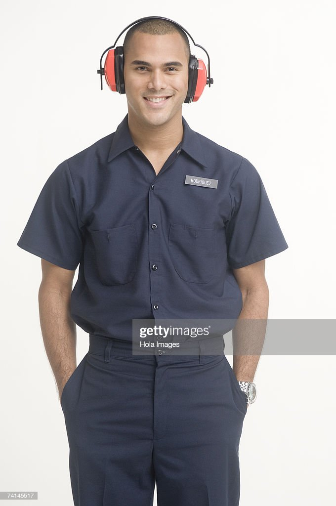 Portrait of airport ground traffic controller : Stock Photo