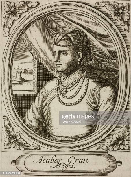 Portrait of Akbar the Great Mughal emperor engraving from Elogii di capitani illustri by Lorenzo Crasso Venice