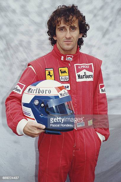 Portrait of Alain Prost of France driver of the Scuderia Ferrari SpA Ferrari 641 Ferrari V12 during pre season testing on 10 February 1990 at the...