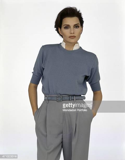 Portrait of Albanianborn Italian singer Anna Oxa wearing man clothes 1989